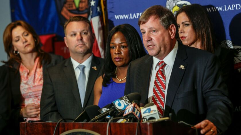 Craig Lally, president of Los Angeles Police Protective League, holds a press conference on police discipline on May 19, 2016.