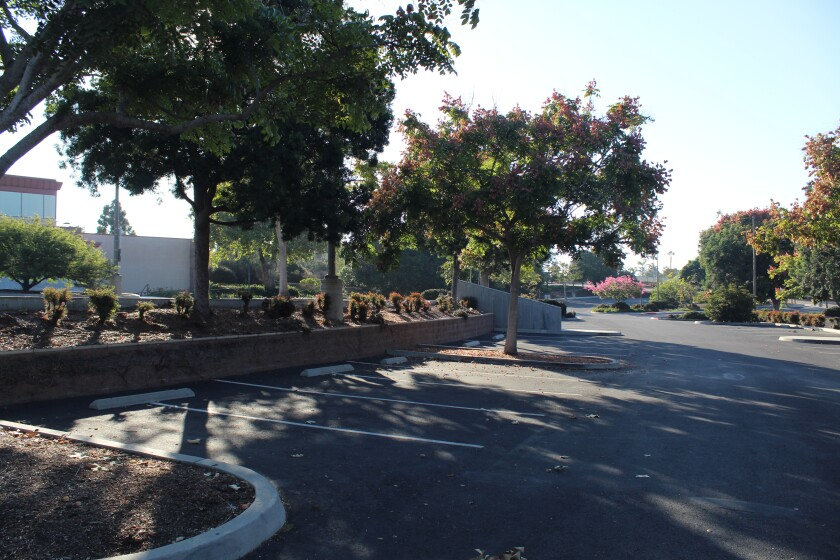 The parking lot at the Encinitas Community and Senior Center.