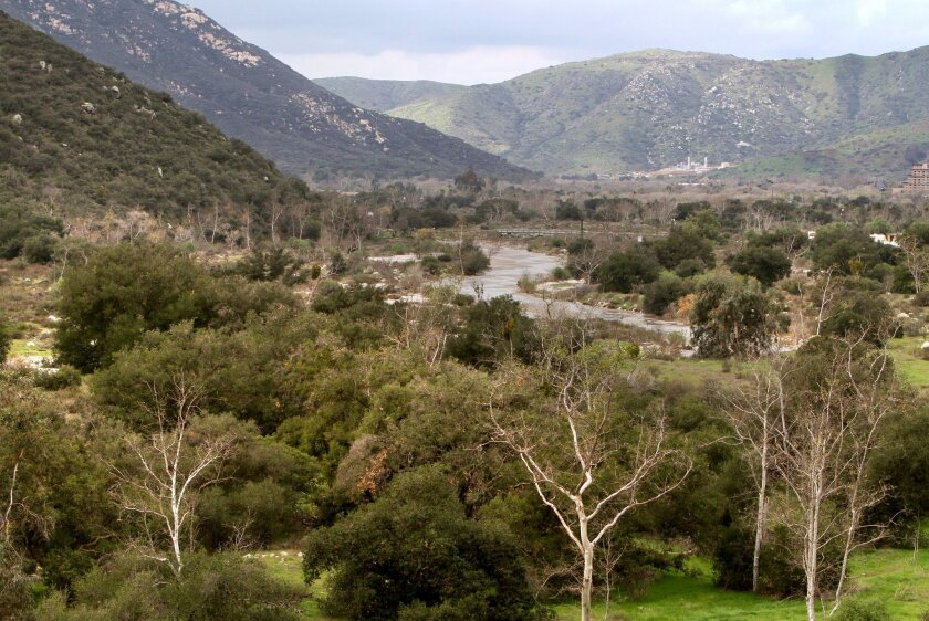The San Luis Rey River near Gregory Mountain, where plans to build a landfill have been delayed for two decades.