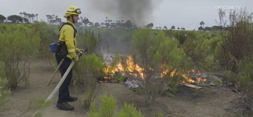 A man was cited for allegedly setting a small brush fire  in Chula Vista Monday morning.