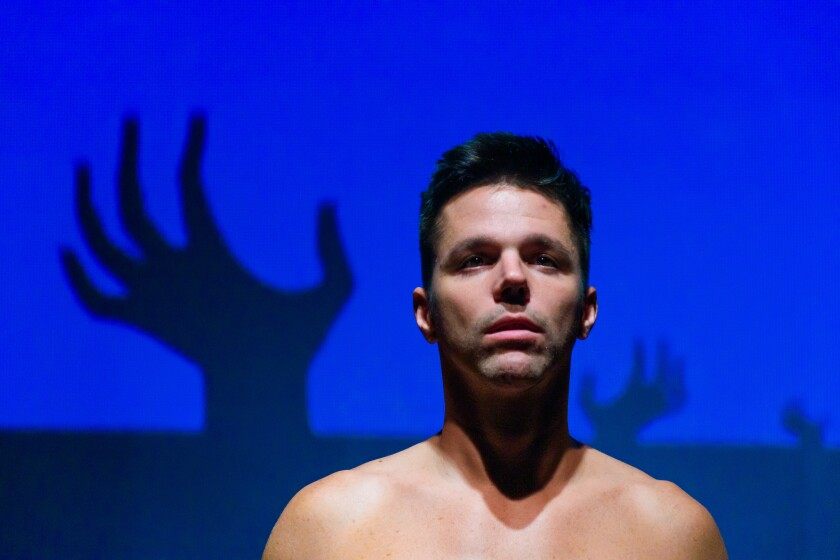 "John Logan in City Garage's premiere of Jeton Neziraj's Orwellian play ""Department of Dreams."""