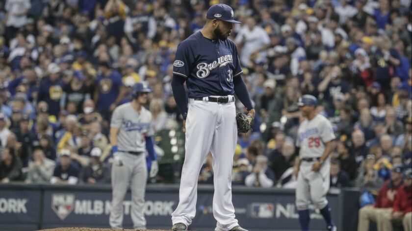 MILWAUKEE, WISCONSIN, SATURDAY, OCTOBER 13, 2018 - Brewers reliever Jeremy Jeffress pitches in the s