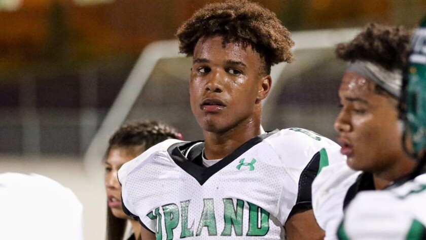 A bloodied lip didn't stop Upland sophomore linebacker Justin Flowe from having a monster game with an interception and a blocked punt returned for a touchdown in a win over Rancho Cucamonga on Oct. 6.
