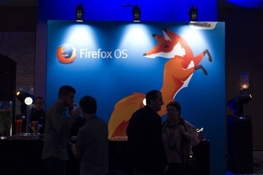 The Mozilla Forefox logo on display at a company news conference this year.