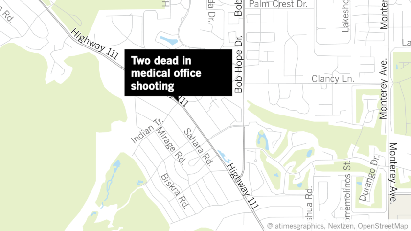 A shooting in a medical office building in Rancho Mirage left two people dead Friday morning, authorities said.