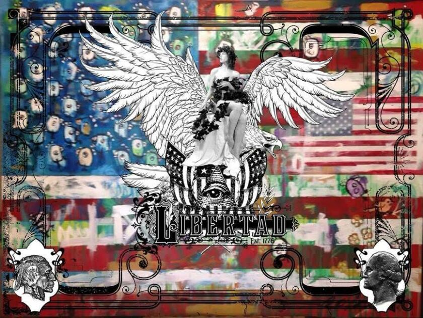 """The four-dimensional """"Liberty"""" features a 36-by-48-inch colorful wooden backdrop depicting the American flag. It was a collaborative piece by Barrero and illustrator Gary Kroman."""