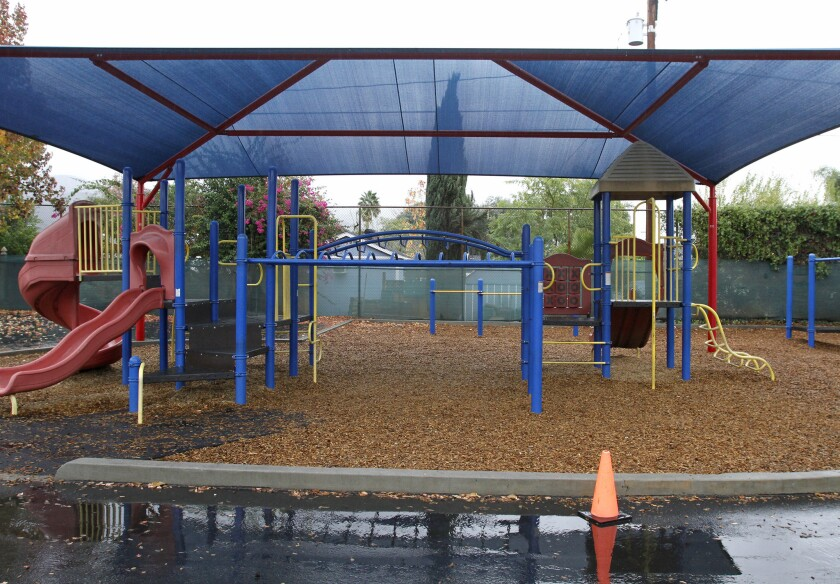 Wood chips at Washington Elementary School in Burbank will be replaced after piercing three pairs of shoes.