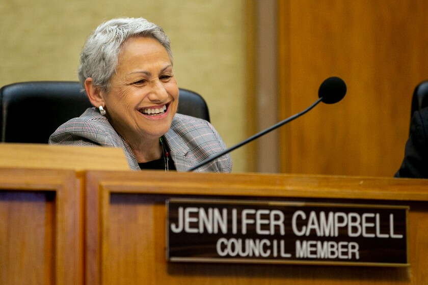 San Diego City Councilwoman Jennifer Campbell appears at a meeting in 2019.