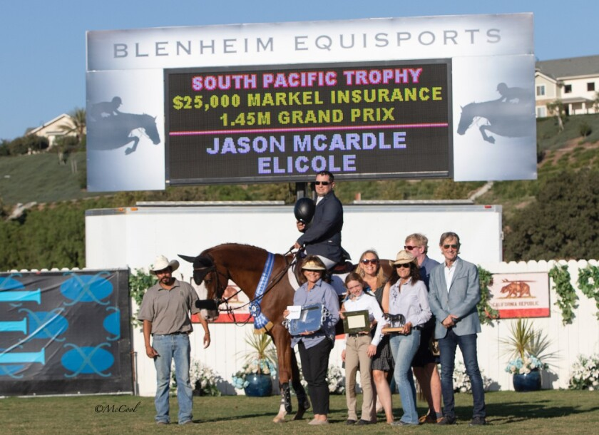 Jason McArdle celebrates his victory on Elicole after winning the $25,000 Markel Insurance 1.45 Meter Grand Prix in September in San Juan Capistrano.