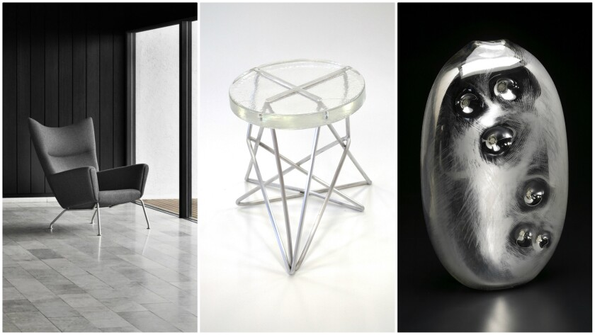 From left, works from Carl Hansen & Son, J Liston Design and Bueno Glass will be available at the WestEdge Design Fair.