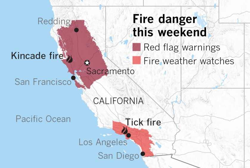 Red-flag warnings and fire weather watches across California