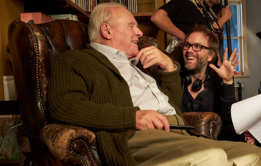 "Anthony Hopkins and writer-director Florian Zeller on the set of ""The Father."""