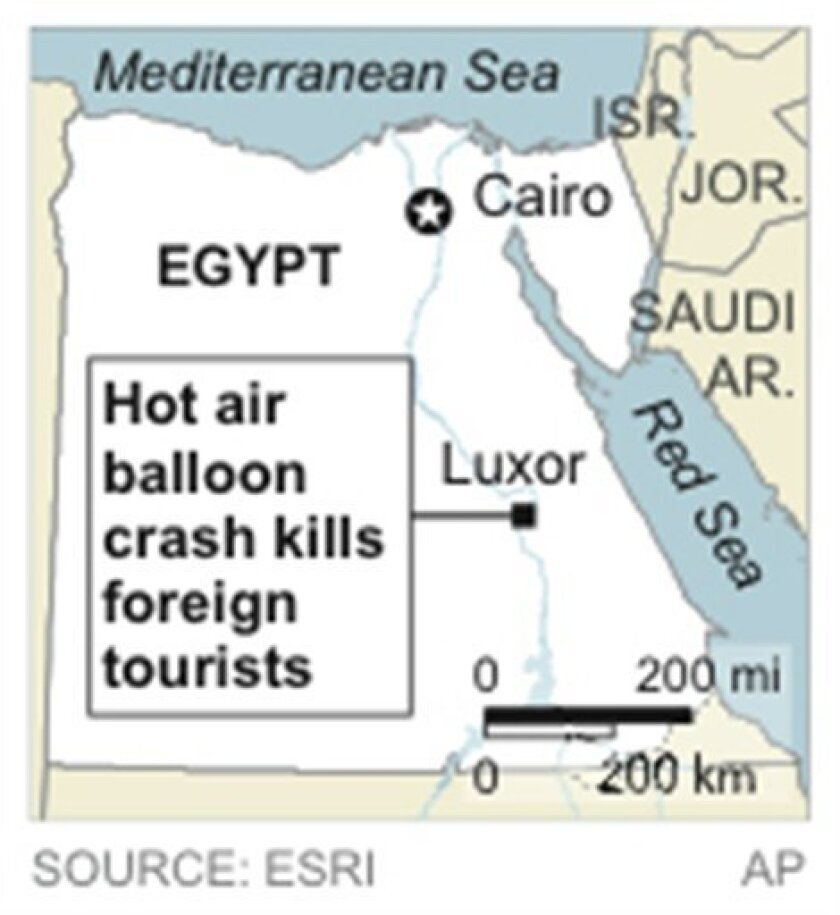 Map locates Luxor, Egypt, where a hot air balloon crash killed foreign tourists