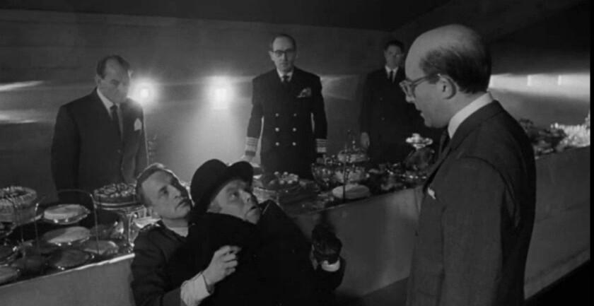 """Gentlemen, you can't fight in here..."": President Merkin Muffley (Peter Sellers) confronts the squabbling Gen. Turgidson (George C. Scott) and Soviet Ambassador De Sadesky (Peter Bull)."