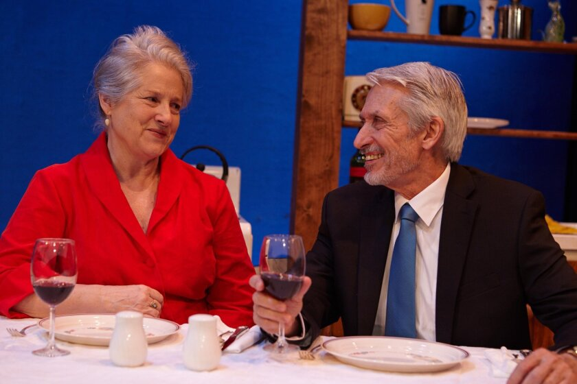 New friends Betty (Annabella Price) and Dan (Mark Bramhall) chat about their pets in North Coast Repertory Theatres West Coast premiere of playwright Christian OReillys Chapatti.