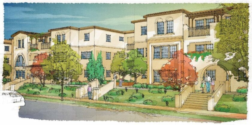 Rendering of the Mission Cove apartment complex under construction in Oceanside.