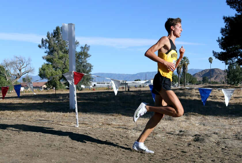Newbury Park senior Nico Young ran alone most of the race and broke the course record with a time of 13:54:1 at the Southern Section Division 2 cross-country finals last week.