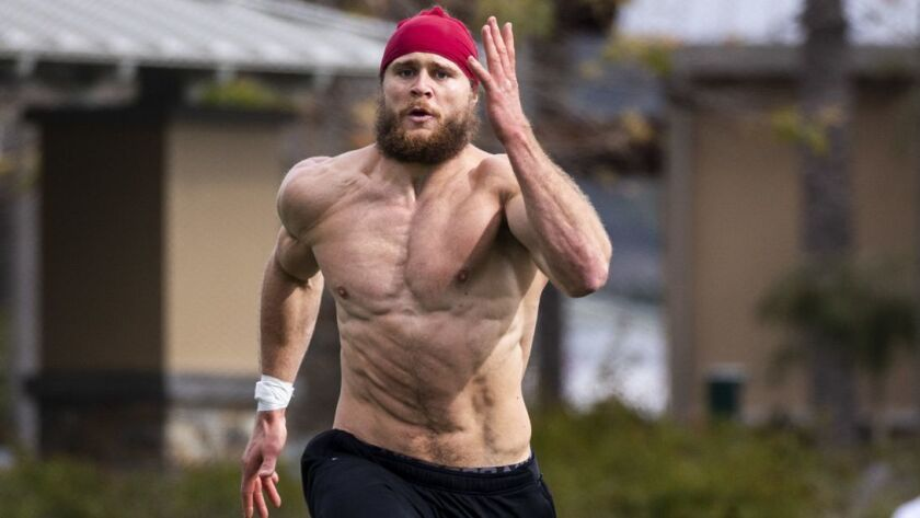 LAKE FOREST, CALIF. - FEBRUARY 20: Porter Gustin, preparing for the NFL combine, trains at Lake Fore