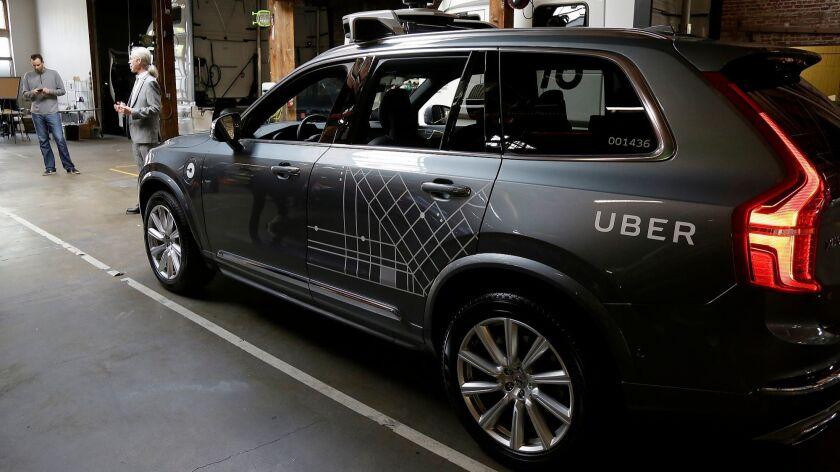 An Uber driverless car in San Francisco last year.