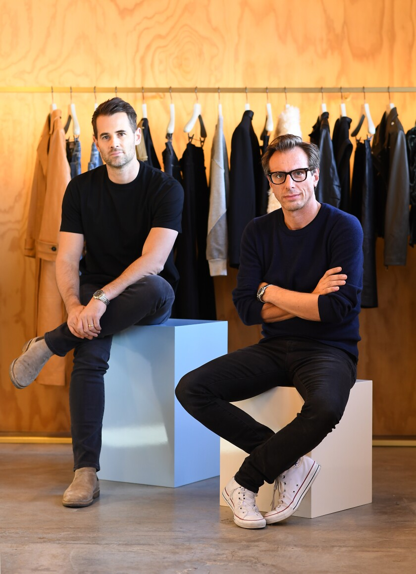 Frame founders Jens Grede, left, and Erik Torstensson at their brand's headquarters in Culver City.