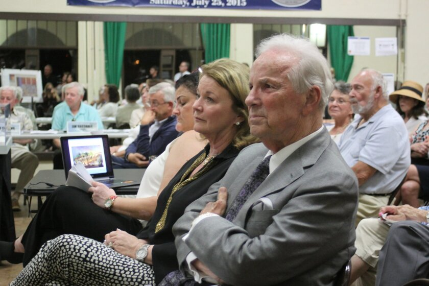 Conrad Prebys (right) and Debbie Turner attend the Oct. 1 LJCPA meeting at the La Jolla Recreation Center. He earned the naming rights for The Conrad Prebys Performing Arts Center (aka 'The Conrad') after making a $15 million donation.