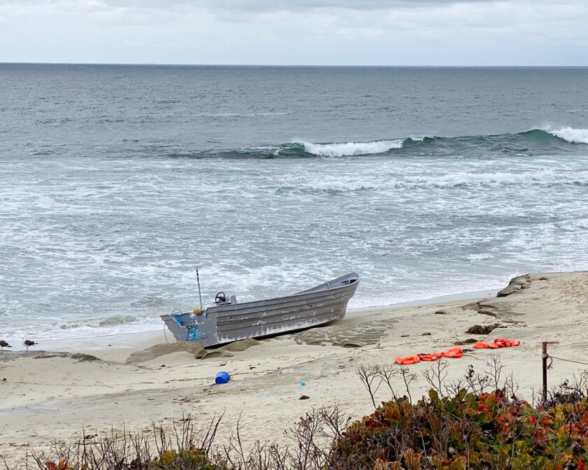 A panga boat that washed ashore in La Jolla was discovered April 22 with numerous life jackets nearby.