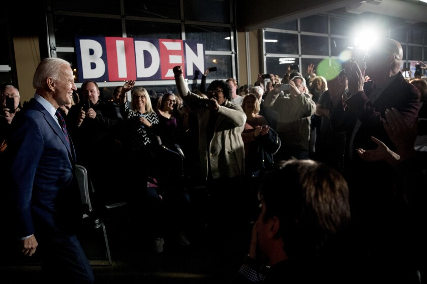 Democratic presidential candidate, former Vice President Joe Biden arrives at a campaign rally at Modern Woodmen Park, Sunday, Jan. 5, 2020, in Davenport, Iowa. (AP Photo/Andrew Harnik)