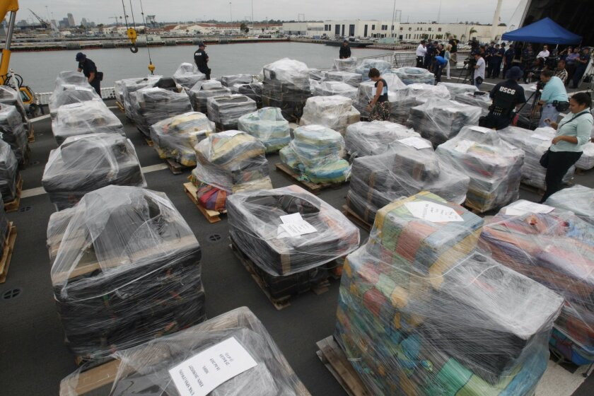 The flight deck of the USCG Cutter Stratton was filled with the contraband waiting to be offloaded.