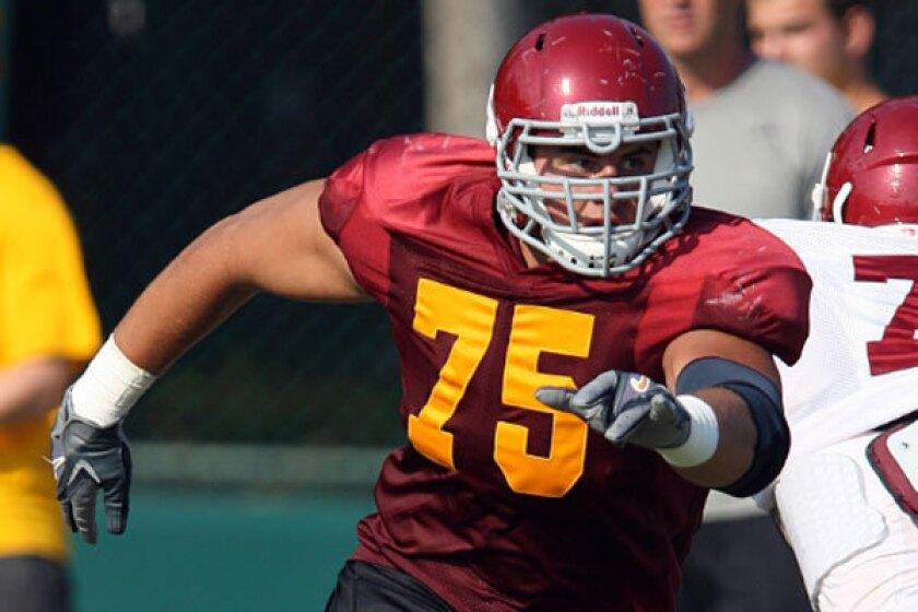 USC junior Max Tuerk, shown in 2012, at spring practice.
