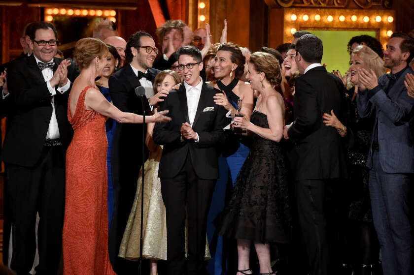 "The cast and creative team of ""Fun Home,"" with Alison Bechdel at center, at the 2015 Tony Awards."