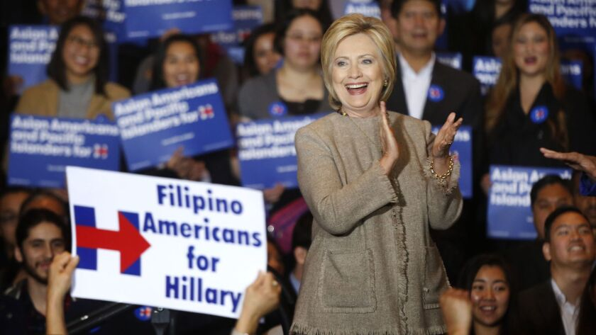 SAN GABRIEL, CA JANUARY 07, 2016 - Democratic Presidential candidate Hillary Clinton at a campaig