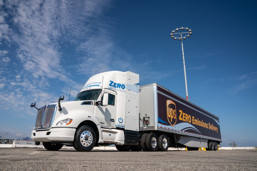 Toyota and Kenworth teamed up in 2019 to run 10 hydrogen fuel cell trucks in a pilot project at the Port of Los Angeles.