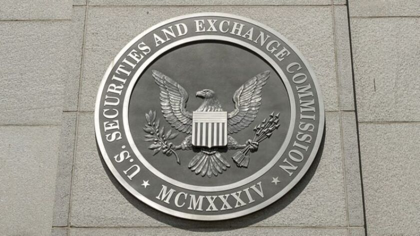 FILE - This Saturday, Aug. 5, 2017, file photo shows the U.S. Securities and Exchange Commission bui