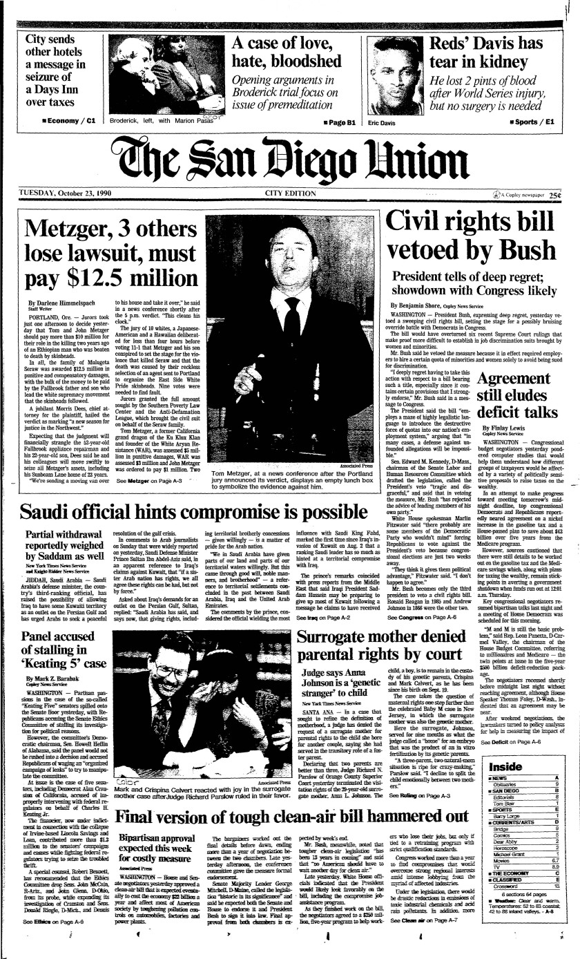 Front page San Diego Union Oct. 23, 1990