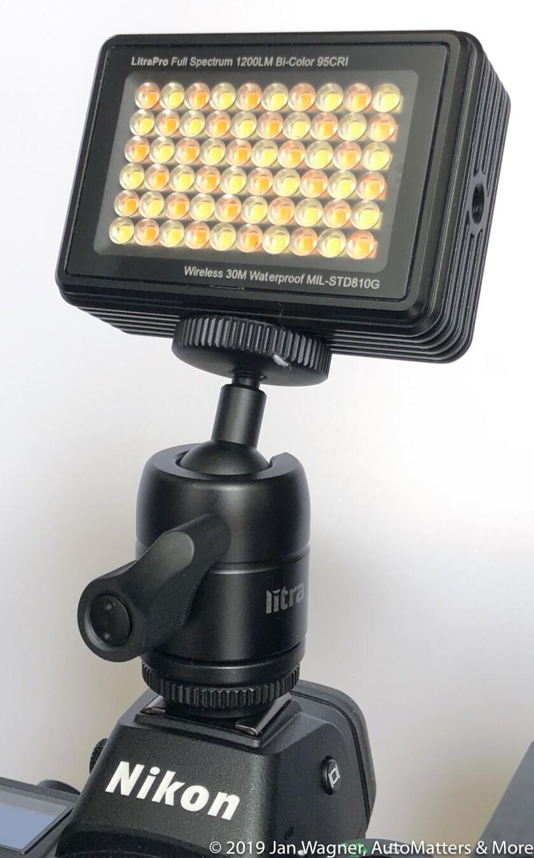 LitraPro LED light on cold shoe ball mount