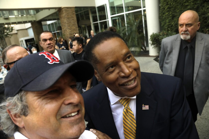 Larry Elder with supporters Woodland Hills