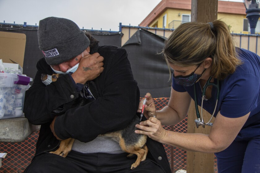 Carlos Zapien comforts his chihuahua Chiquita, while Dr. Gabrielle Rosa issues a rabies vaccine to her.