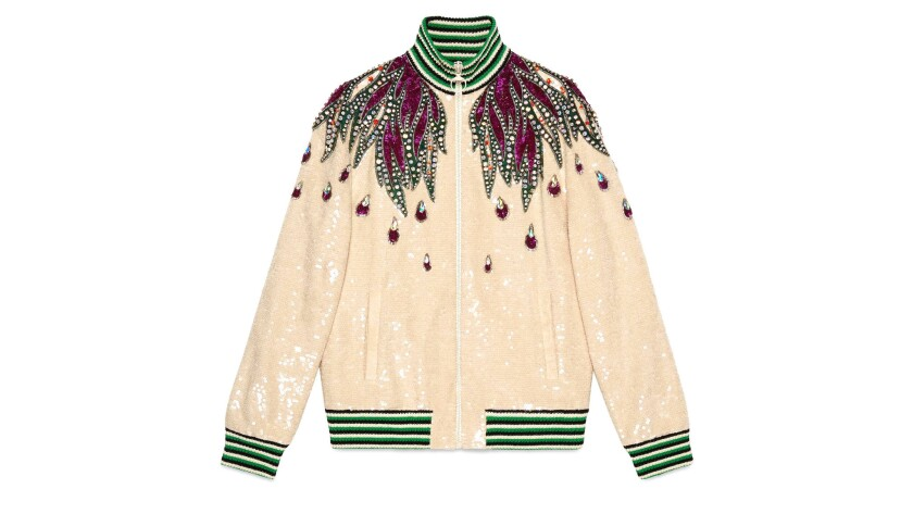 Gucci Gucci's white cotton jersey sequin embroidered retro silhouette bomber jacket sports beautiful
