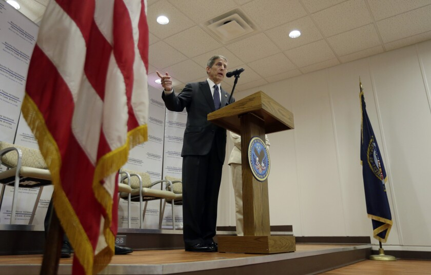 Sloan Gibson, acting secretary of Veterans Affairs, speaks to the media during a visit to the Audie L. Murphy VA Medical Center in San Antonio on June 6.