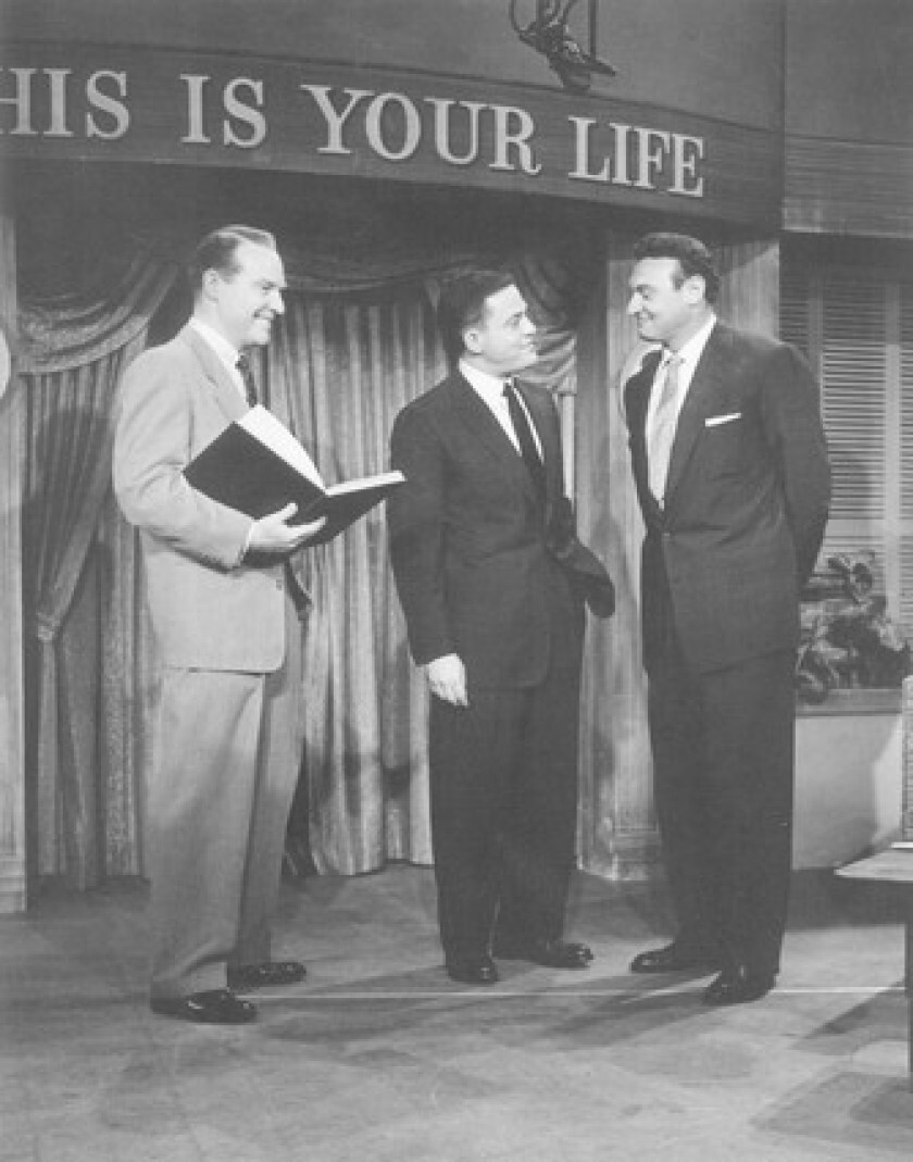Ralph Edwards, Berle Adams and Frankie Laine tape an episode of 'This Is Your Life' in the late 1950s.