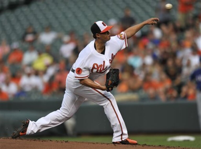 Baltimore Orioles pitcher Wei-Yin Chen delivers against the Texas Rangers in the first inning of a baseball game on Wednesday, July 10, 2013, in Baltimore. (AP Photo/Gail Burton)
