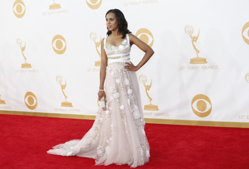 """Kerry Washington of """"Scandal"""" is reportedly pregnant and about four months along, according to reports. Above, Washington at the Emmy Awards in September."""