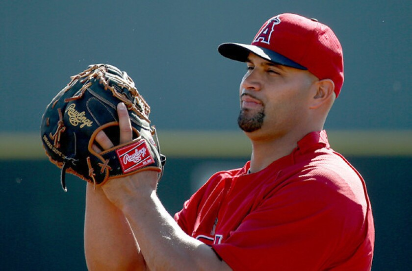 Angels first baseman Albert Pujols played a career-low 99 games last season with the Angels, a majority at designated hitter because of a foot injury.