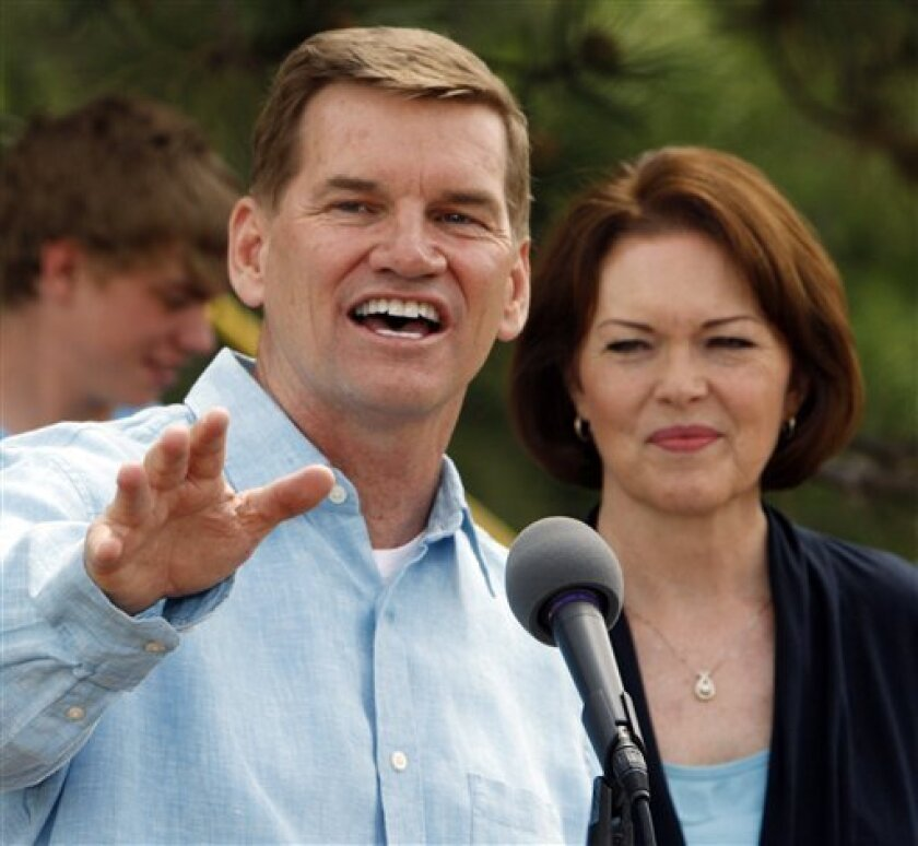 Ted Haggard, the former megachurch pastor who fell from grace amid a sex scandal, with his wife Gayle at his side talks about the new church that he is starting up during a news conference at their home in Colorado Springs, Colo., on Wednesday, June 2, 2010.  (AP Photo/Ed Andrieski)