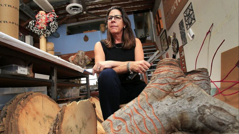 SAN DIEGO, October 3, 2018   Artist Lynn Susholtz in her studio, named Stone Paper Scissors, which i