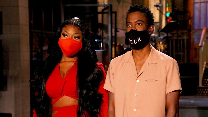 "Megan Thee Stallion and Chris Rock on ""Saturday Night Live"" on NBC."