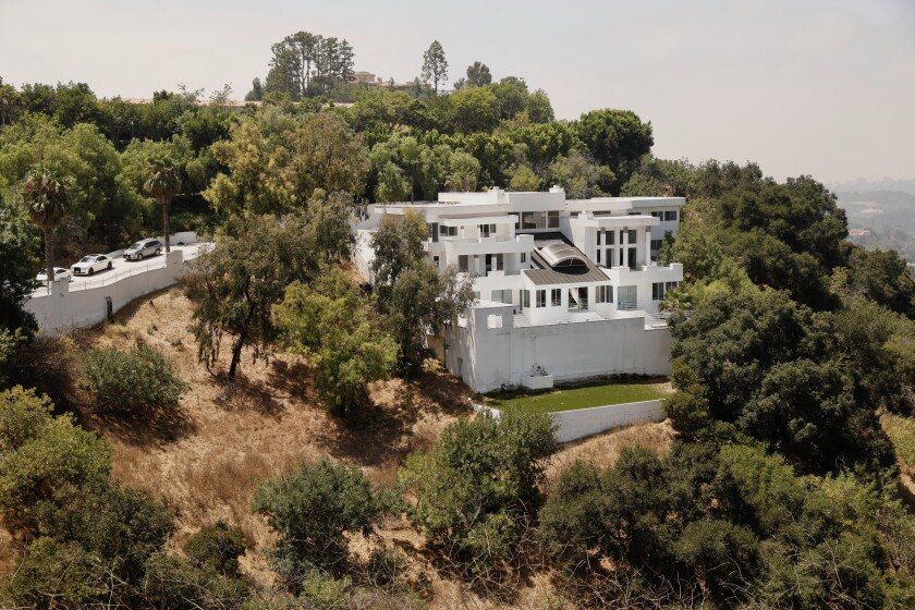 A home on Mulholland Drive where a massive party was held in defiance of coronavirus-related health orders.