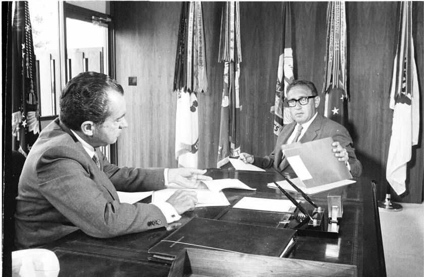 President Richard Nixon and Henry Kissinger on Aug. 25, 1970.