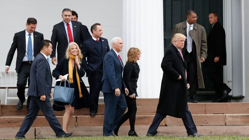 President-elect Donald Trump is joined by members of his election team and incoming Cabinet for services at Lamington Presbyterian Church in Bedminster, N.J., on Nov. 20.