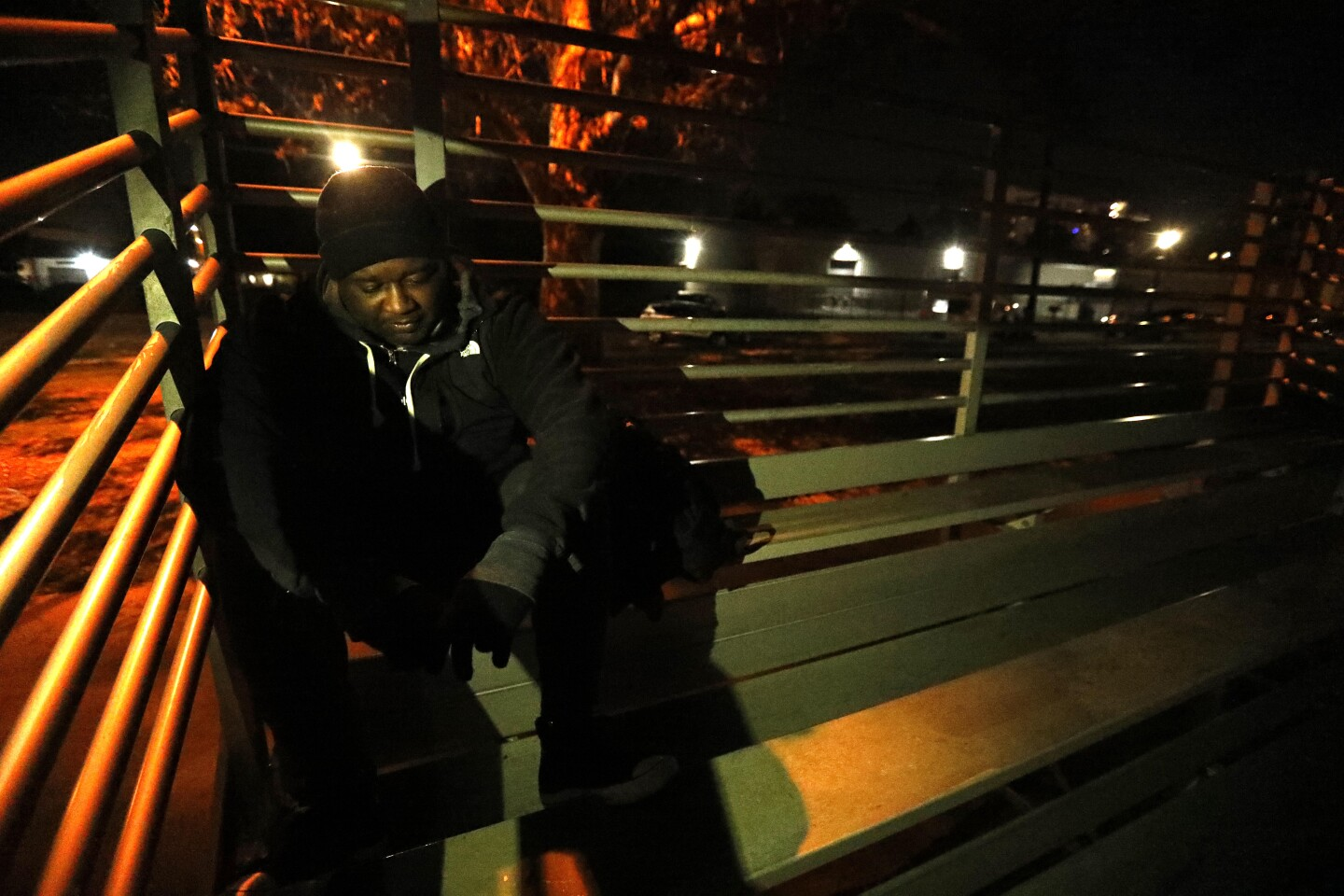 """NORTH HOLLYWOOD, CA - JANUARY 21, 2020 - Gospel musician Clemmie Williams, 34, lives homeless in North Hollywood Park on January 21, 2020. Williams has been working on part time jobs but it's not enough to make first and last for an apartment he says. """"It's a struggle to get back to normalcy,"""" Williams said. Williams was photographed on the first night of the 2020 LA County homeless count. On Tuesday, volunteers with the focused on the San Gabriel and San Fernando valleys. Other swaths of the region, such as the South Bay and Antelope Valley, will be covered Wednesday and Thursday.. The homeless count is overseen by the Los Angeles Homeless Services Authority (LAHSA) The volunteers will canvas more than 80 cities and 200 communities across L.A. County over three days to count the number of homeless people living on the streets, according to the LAHSA. Last year's count found that nearly 59,000 people were experiencing homelessness countywide, an increase of 12% from 2018. (Genaro Molina / Los Angeles Times)"""